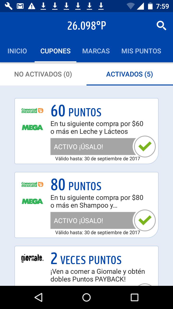 Comercial Mexicana y MEGA: Bonificaciones en puntos PAYBACK comprando montos mínimos en algunos departamentos (se necesita activar cupones)