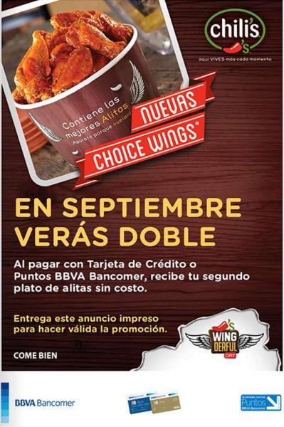Chili's: 2x1 en alitas con Bancomer y cupón