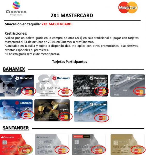 2x1 en Cinemex con Mastercard sigue vigente de forma de indefinida