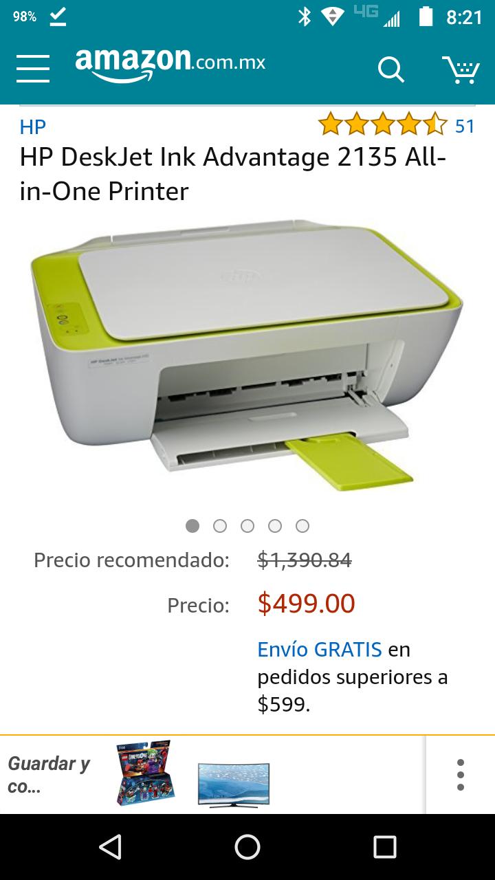 Amazon: Multifuncional HP DeskJet Ink Advantage 2135