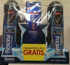 Chedraui: Dos Rexona Men Xtracool 48 hrs en aerosol (150 ml c/u) + Shampoo anticaspa Clear Men (100 ml).