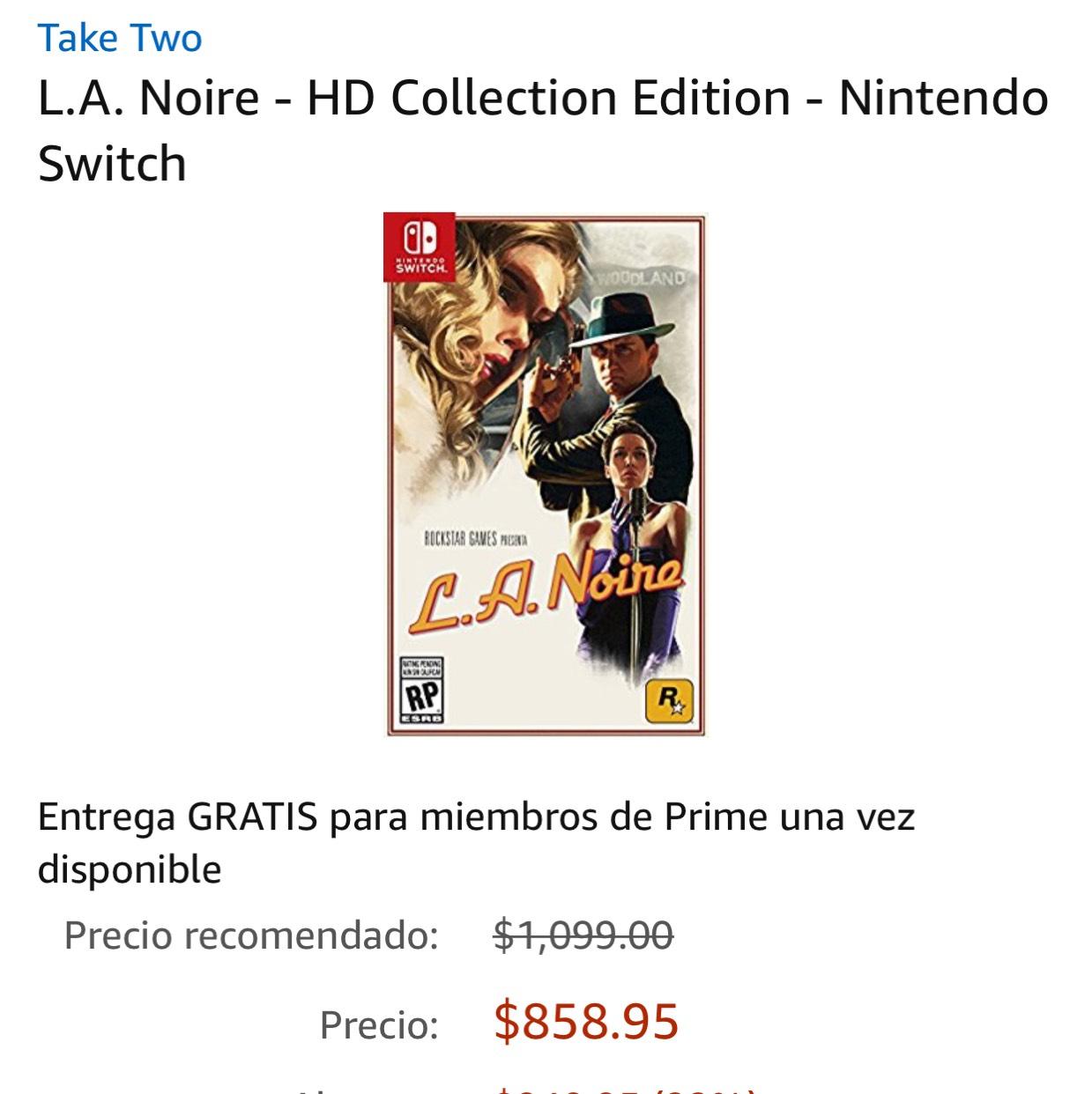 Amazon: L.A. Noire - HD Collection Edition para Nintendo Switch