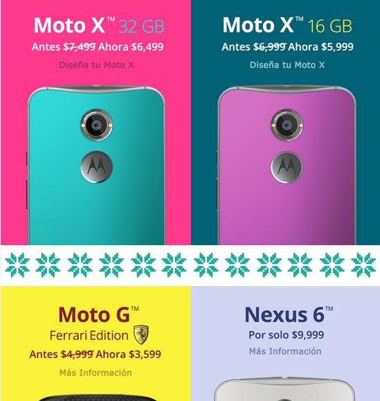 Motorola tiene hasta 28% de descuento en equipos seleccionados, Nexus 6 a $9999