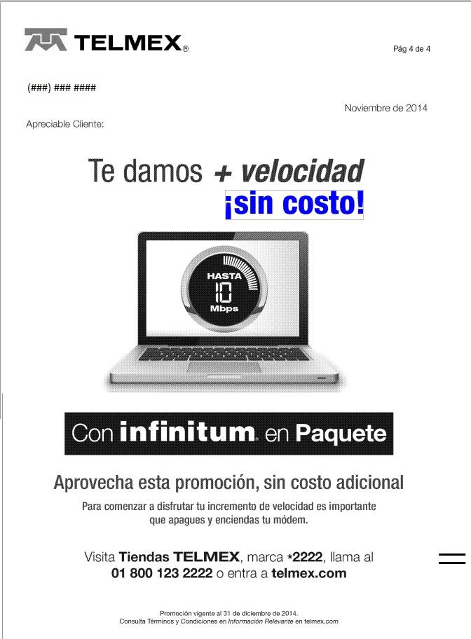 Telmex aumenta velocidad de internet sin costo