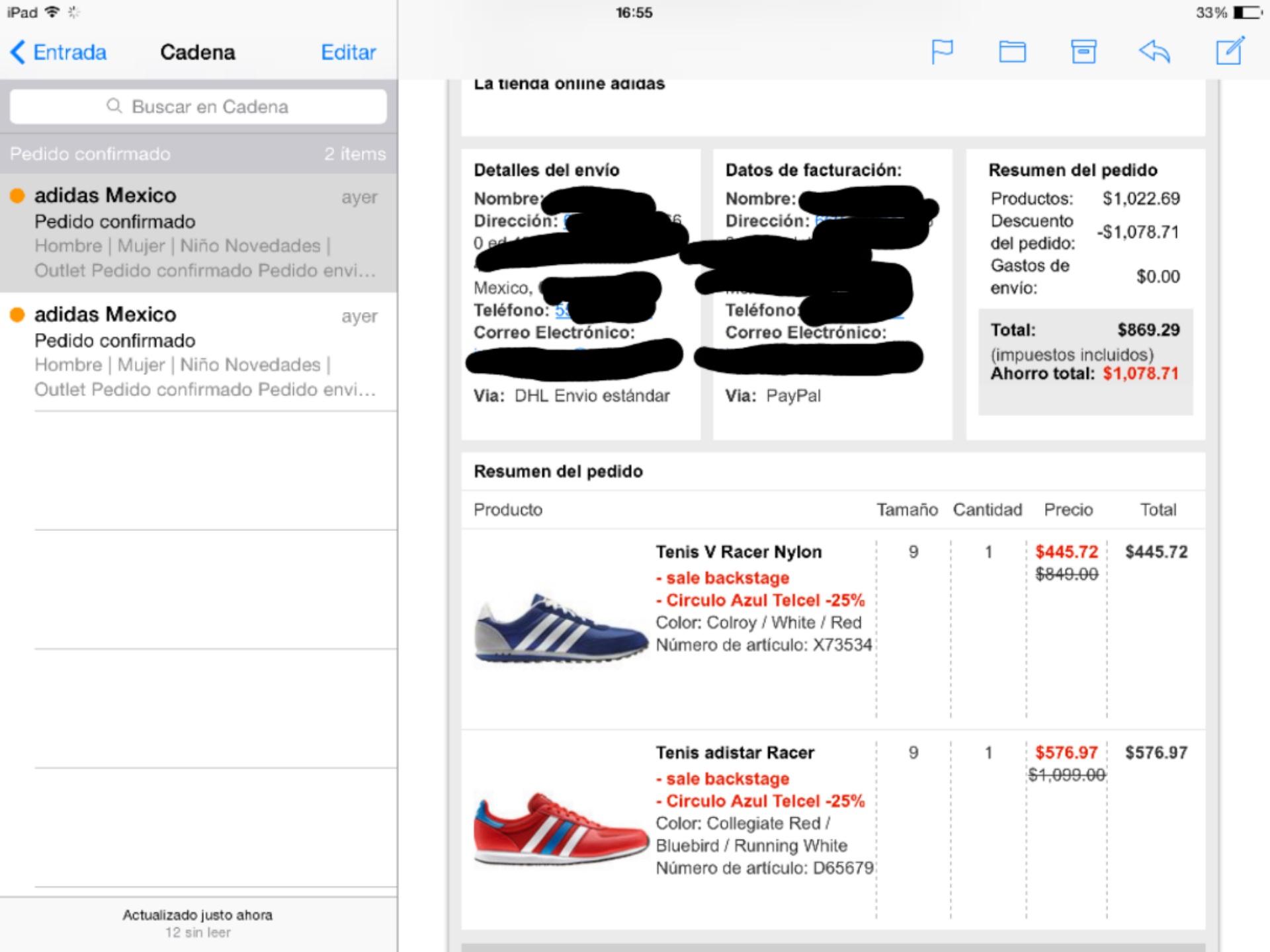 Adidas 15% con Paypal + 25% con cupón