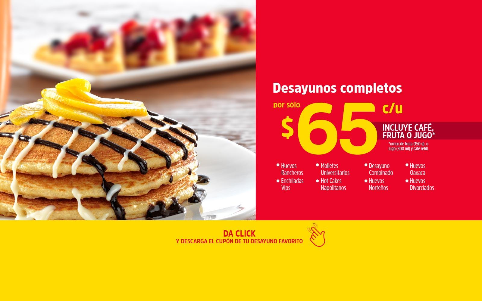 VIPS: Desayunos completos por sólo $65 pesitos c/u Incluye café refill Y jugo o fruta de 07:00 a 13:00hrs con cupón