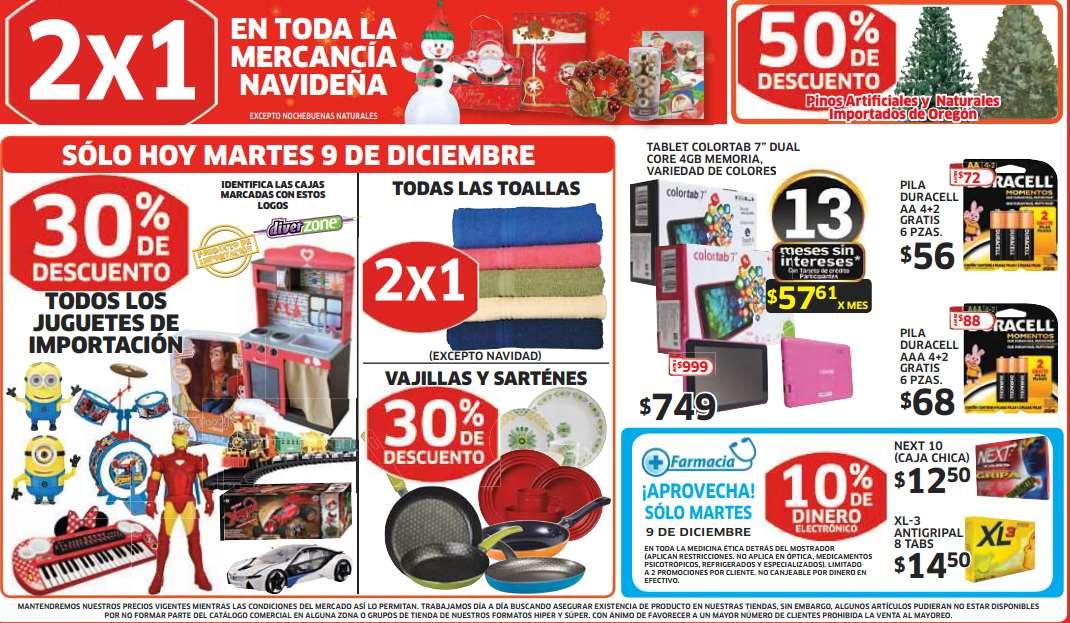 Soriana: pollo entero $20 el kilo, 2x1 en toallas y mercancía navideña, 30% menos en juguetes importados y más