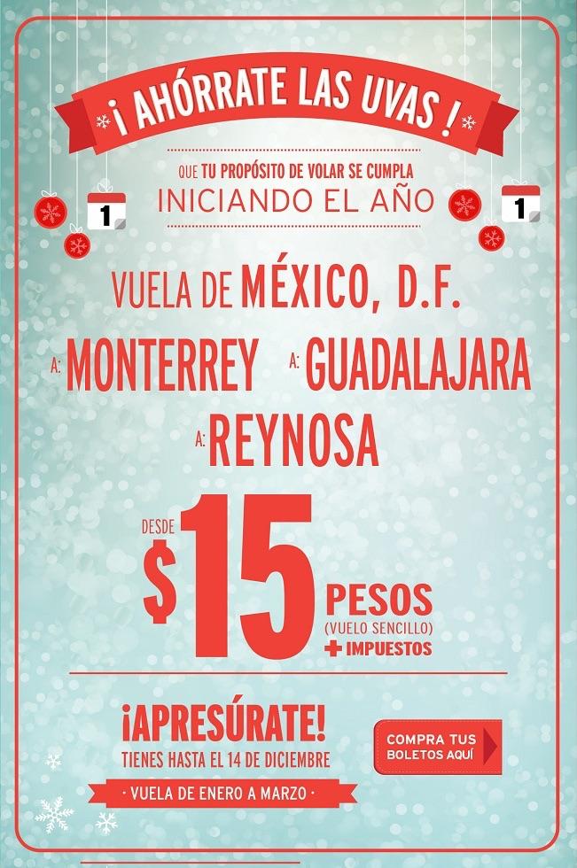 Vuela de enero a marzo (DF a MonterreyGuadalajara o Reynosa) por $15 Más impuestos VIVAAEROBUS