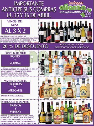 Bodegas Alianza: 3x2 en vinos de mesas, 20% de descuento en rones, tequilas y más