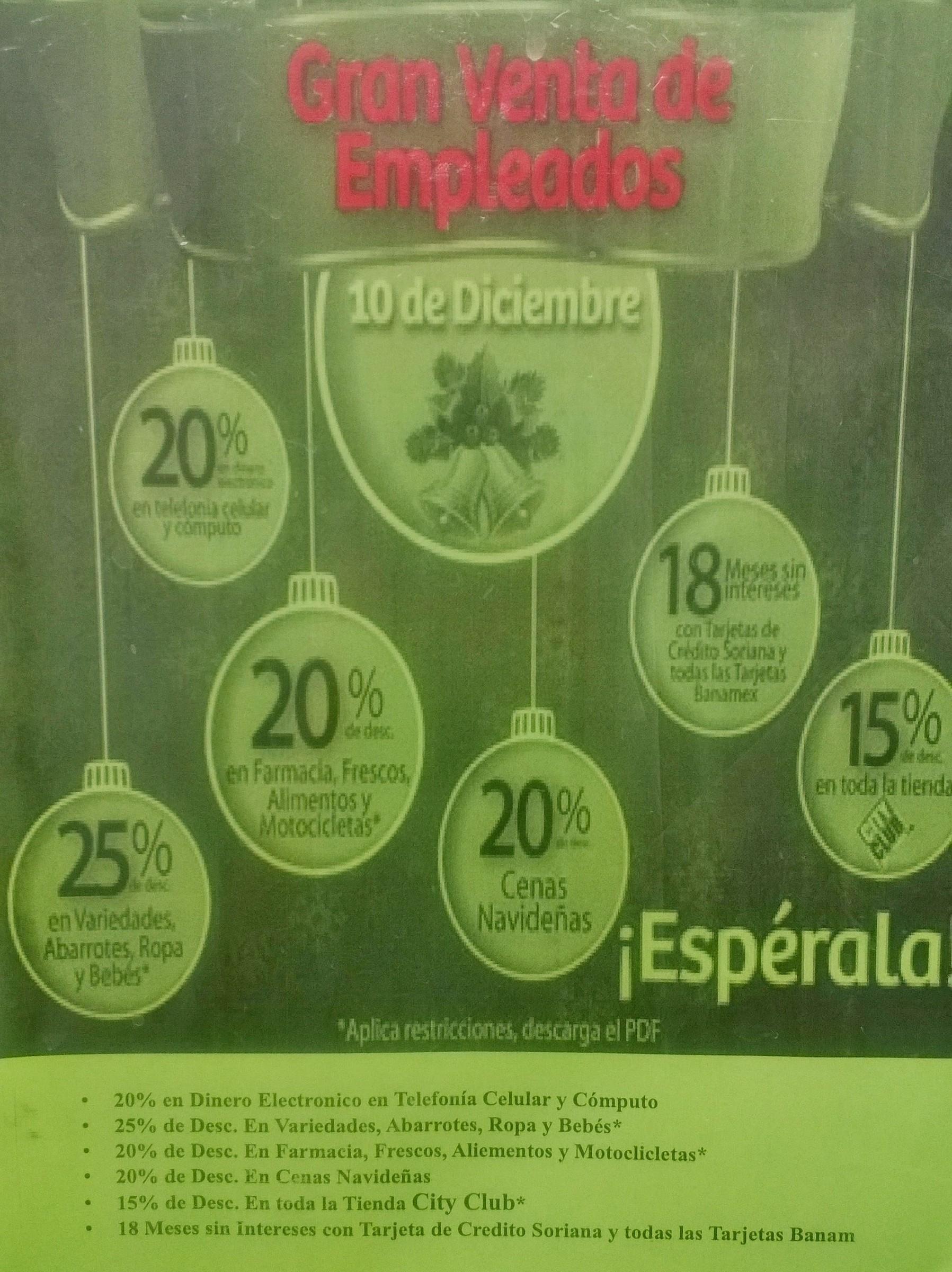 Soriana gran venta de empleados diciembre 10: 25% de descuento en abarrotes, ropa, variedades y bebes y más