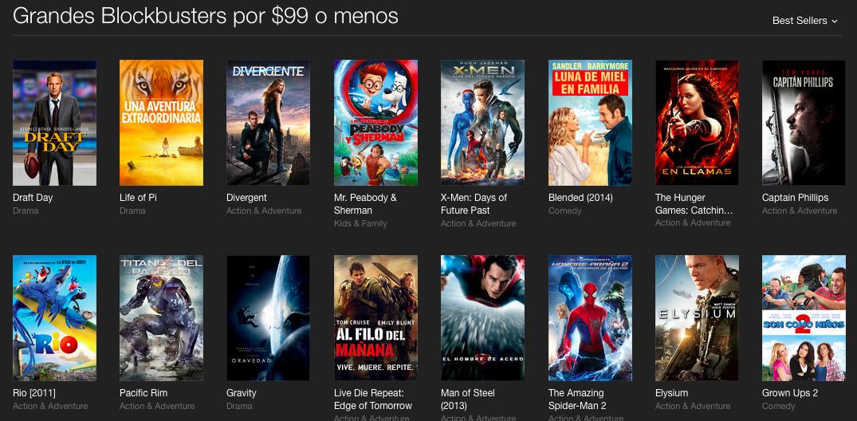 iTunes: películas grandes éxitos HD $99 pesos