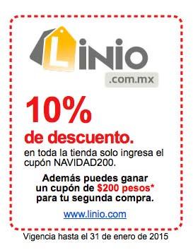 Linio: cupón NAVIDAD200 con 10% de descuento en todo y $200 para segunda compra