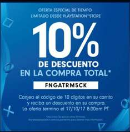 PSN: 10% de descuento adicional sobre total de compra