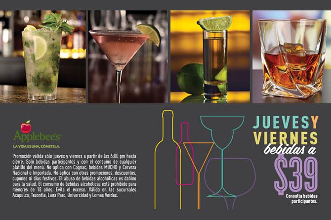 Applebee's: Jueves y Viernes bebidas a $39