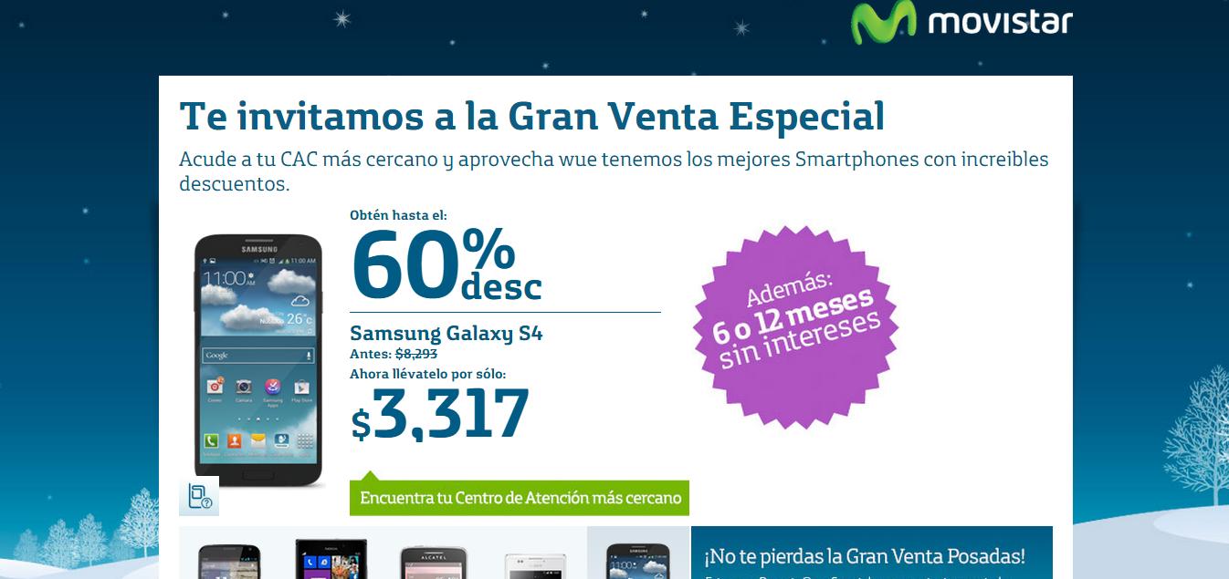 Movistar: Galaxy S4 $3,317 y otros descuentos