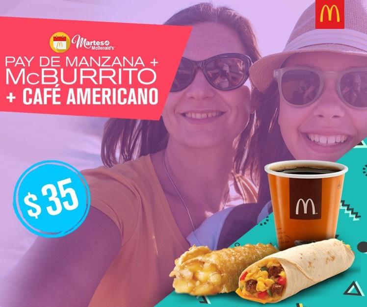 Martes de Mc Donalds Pay de Manzana+ Mc Burrito + Café Americano 12 oz. a $35