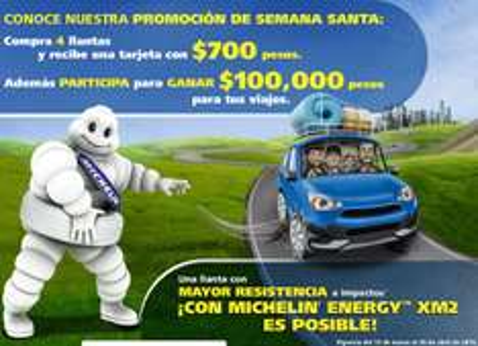 Michelin: tarjeta con $700 al comprar 4 llantas