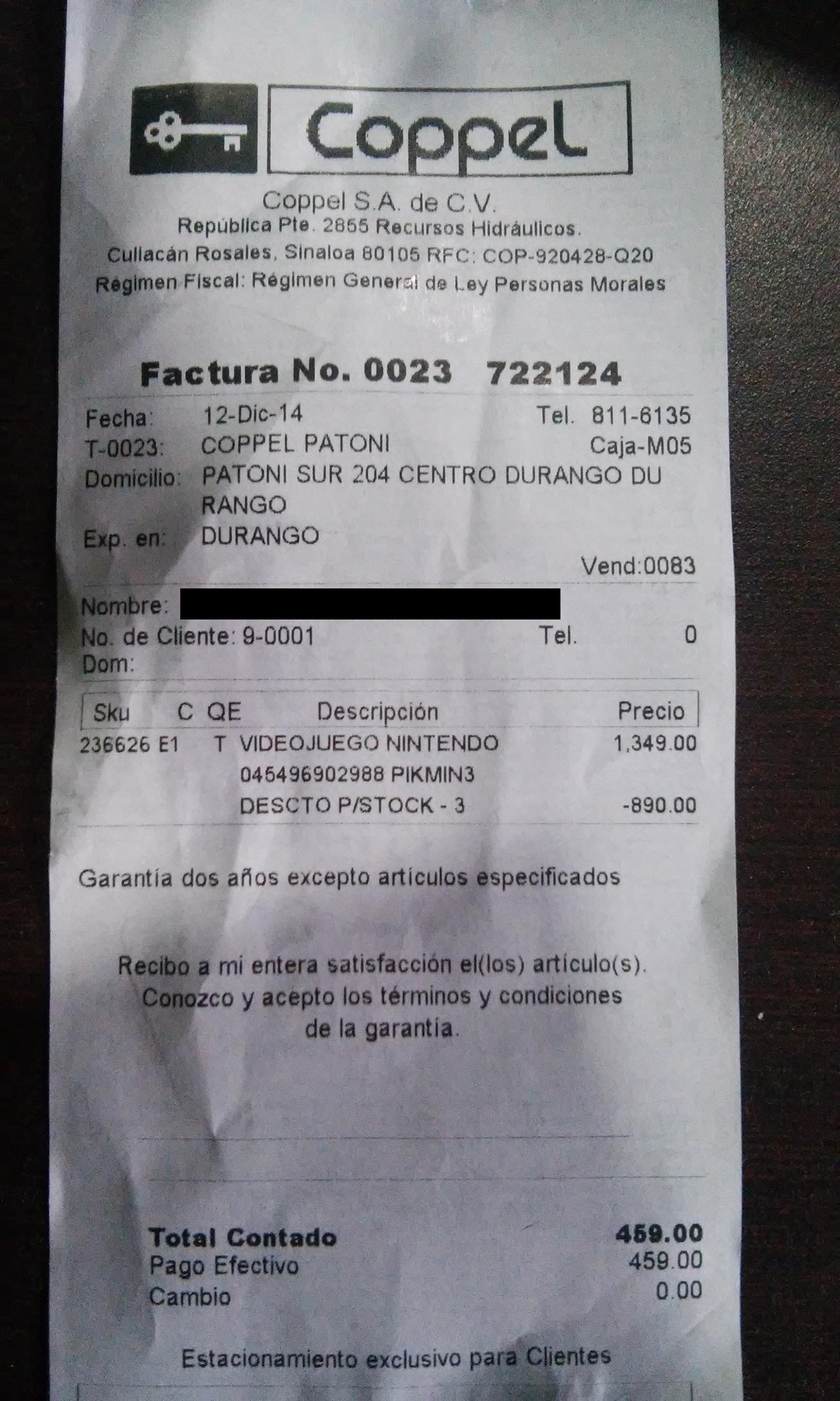 Coppel: Pikmin 3 (Wii U)  $459 ($799 en mercado libre)