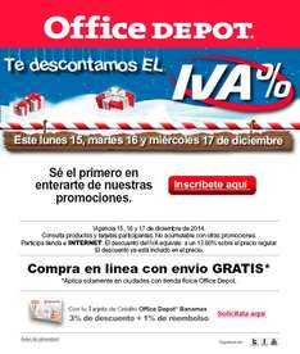 Office depot - te descuenta el IVA