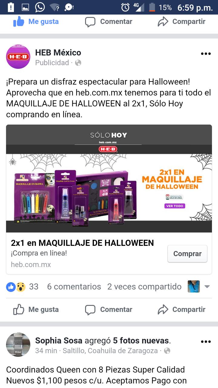 HEB en línea: solo hoy 2x1 en maquillaje de hallowen