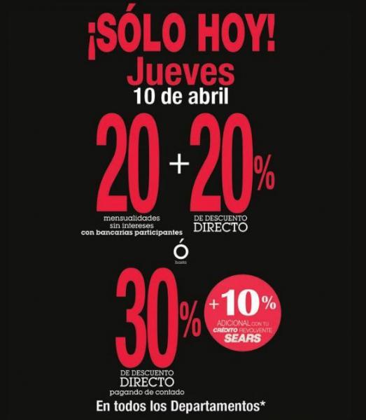 Sears: venta especial 10 de abril