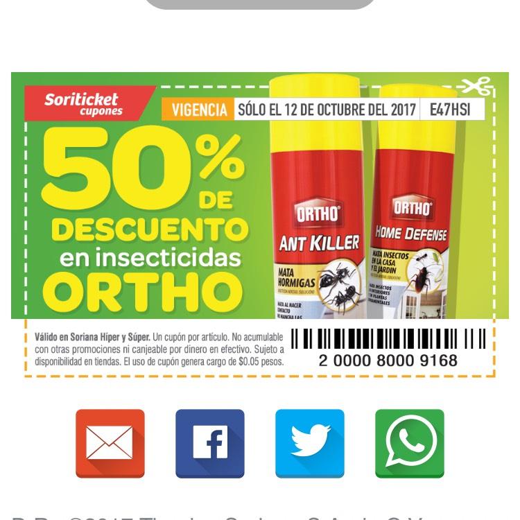 Soriana: insecticidas Ortho con el 50% de descuento solo el día 12 de octubre