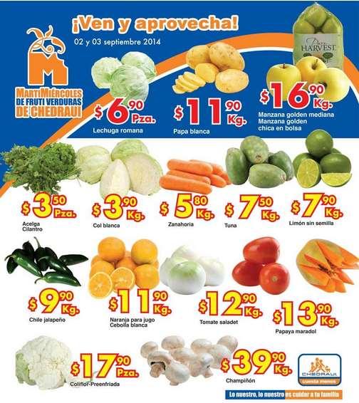 Ofertas de frutas y verduras en Chedraui 2 y 3 de septiembre