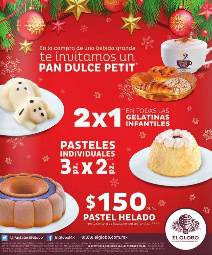 Pastelerías El Globo: 3x2 en pasteles individuales, pan dulce gratis comprando bebida y más