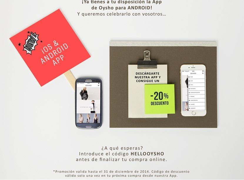 Oysho 20% off comprando desde la app