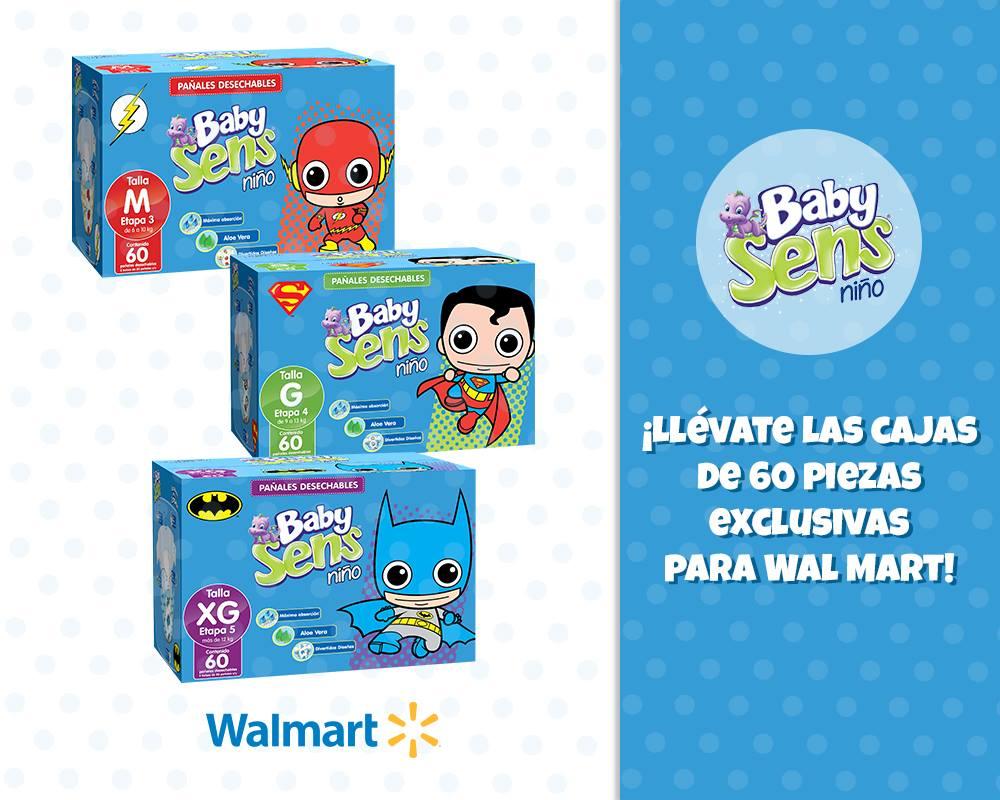 Walmart (tienda física): paquete de pañales Baby Sens de 60 y gratis un cesto a solo $160