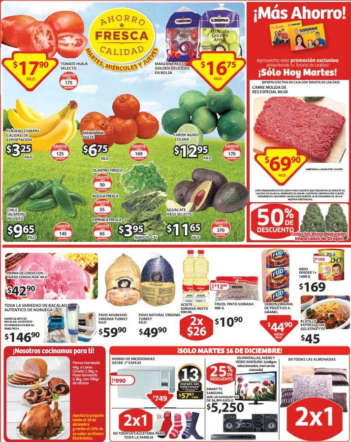 Soriana: 2x1 en almohadas y calcetines y ofertas de frutas y verduras para diciembre 16
