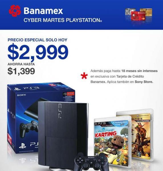 PS3 de 12GB y con dos juegos a $2,999 con Banamex