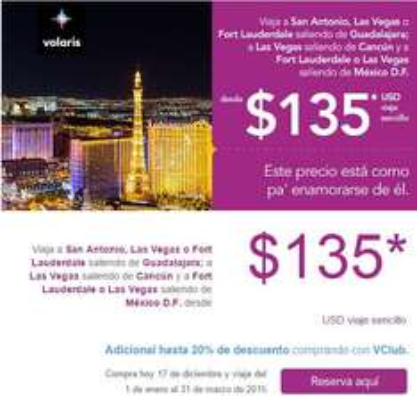 Volaris: destinos seleccionados a Estados Unidos (seleccionados) desde $135 dólares sencillo