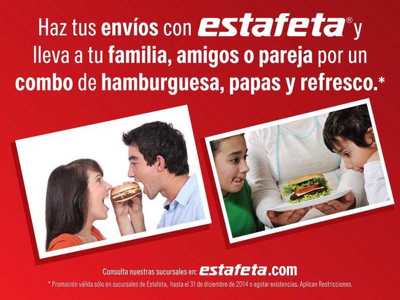Estafeta: Combo hamburgesa, papas y refresco al hacer envios