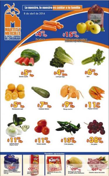 Ofertas de frutas y verduras en Chedraui abril 8 y 9