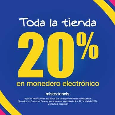 Mister Tennis. 20% en monedero en toda la tienda