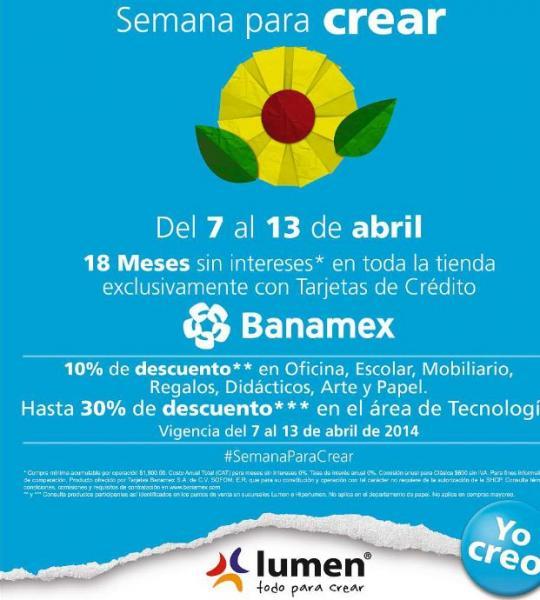 Lumen: semana para crear con descuentos del 10 al 30%