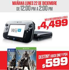 Gamers: Wii U deluxe reacondicionado $4,499, Destiny desde $499 (por 2 horas)