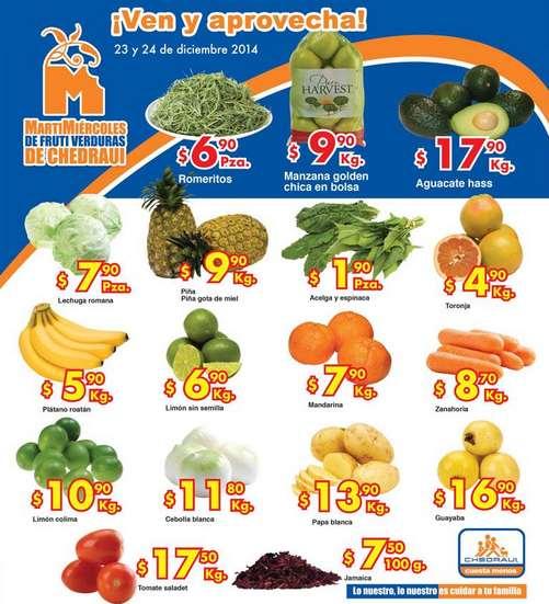 Ofertas de frutas y verduras en Chedraui 23 y 24 de diciembre