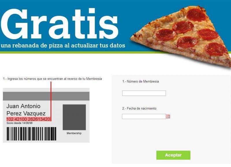 Sam's Club: rebanada de pizza gratis al actualziar datos en su página web