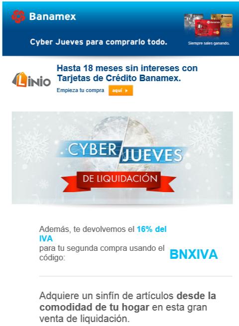 Linio: cyberjueves Banamex descuento del IVA cupón BNXIVA
