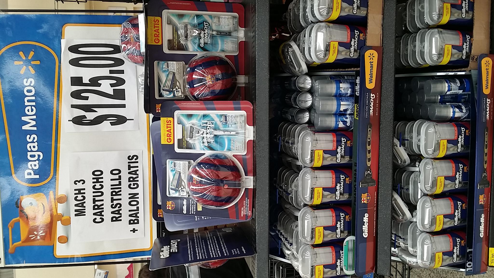 Walmart: Rastrillo Mach 3 + 2 repuestos + mini balón del Barcelona $125