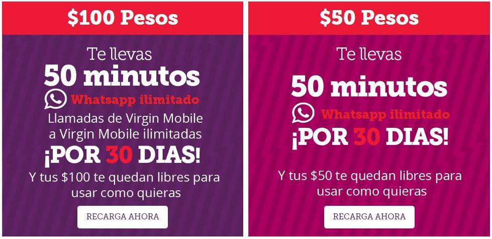 Virgin Mobile: Recarga $50 y obten 50 minutos + Whatsapp ilimitado ¡Gratis! y los $50 los sigues teniendo [Y mas promos...]
