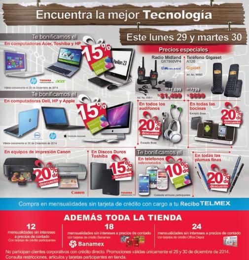 Office Depot: ofertas especiales en tecnología 29 y 30 de diciembre