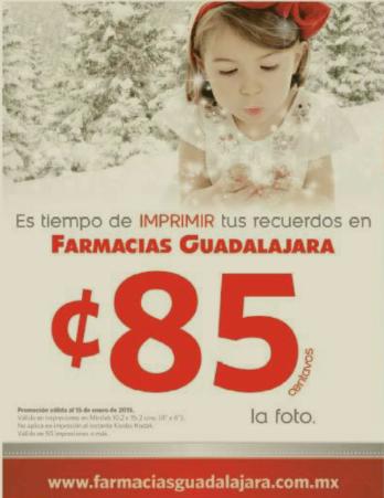 Farmacias Guadalajara: impresión de fotos a 85 centavos (mínimo 50)
