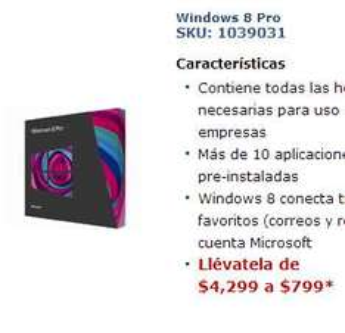 Telmex: Windows 8 Pro $799 ($3,735 en la tienda de Microsoft)
