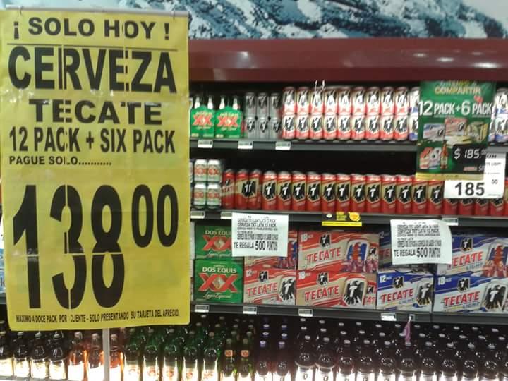 Soriana: cerveza Tecate 12 pack + 6 pack $138