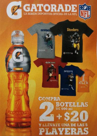 Farmacias Guadalajara: playera de la NFL a $20 comprando 2 Gatorades