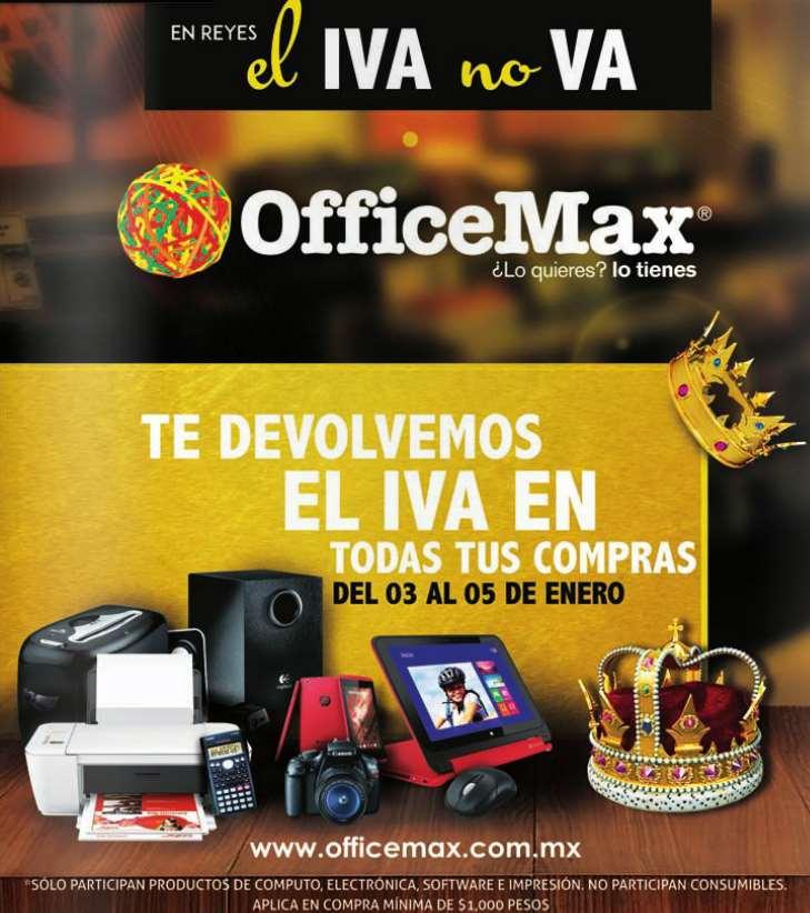 OfficeMax promoción del día de reyes: devolución de IVA