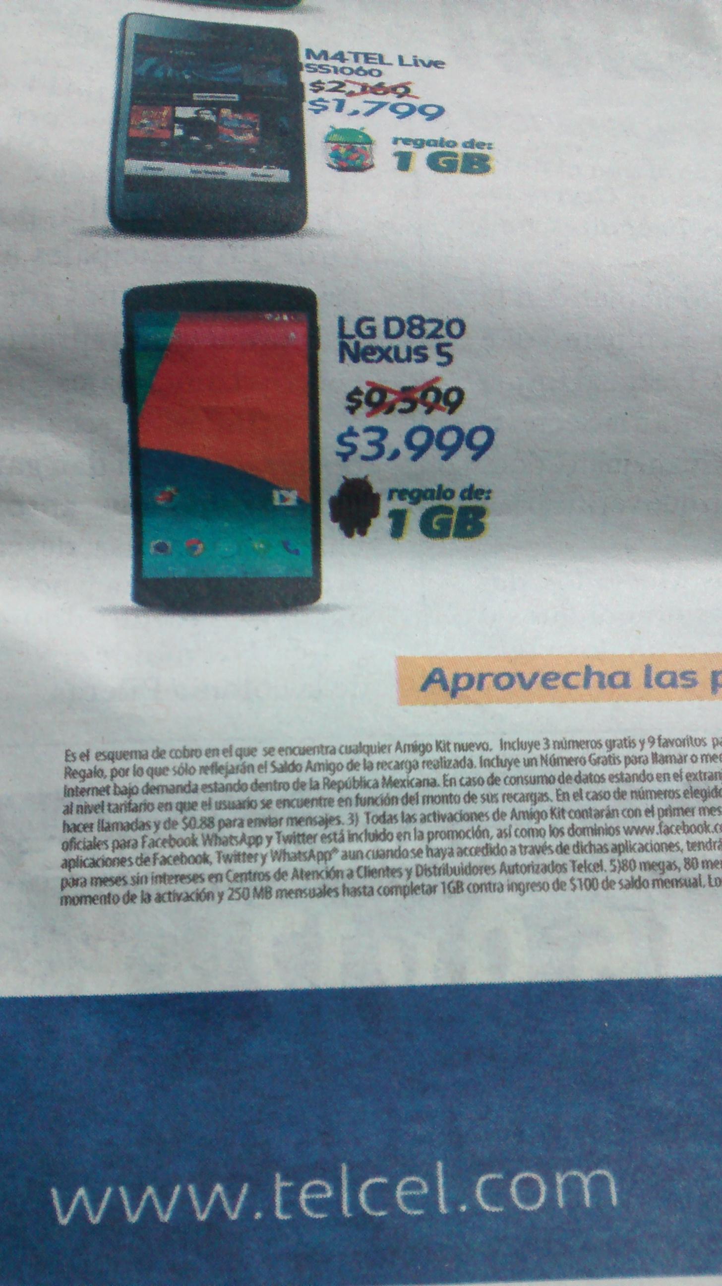 Telcel: Nexus 5 $3,999